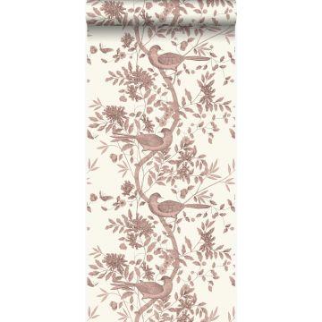papel pintado grabado de pájaros blanco marfil y marrón cobre brillante de Origin