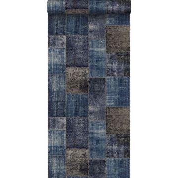 papel pintado patchwork kilim gris pardo y azul de Origin