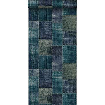 papel pintado patchwork kilim verde esmeralda de Origin