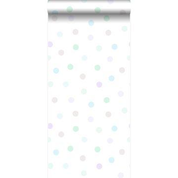papel pintado puntos lunares polka dots morado lavanda lila pastel claro, verde menta pastel claro, gris plata brillante y azul celeste pastel claro de Origin