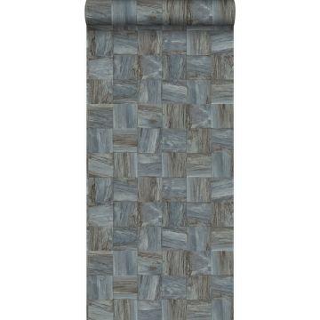 papel pintado con textura eco pedazos cuadrados de madera de desecho recuperada gris pálido de Origin
