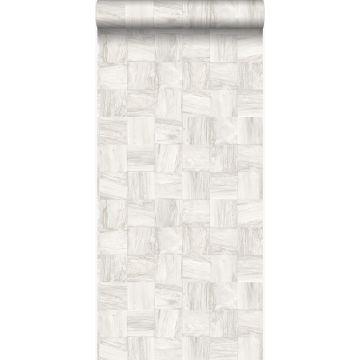 papel pintado con textura eco pedazos cuadrados de madera de desecho recuperada blanco crema de Origin