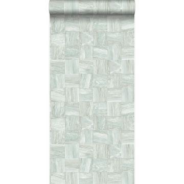 papel pintado con textura eco pedazos cuadrados de madera de desecho recuperada verde grisáceo claro de Origin