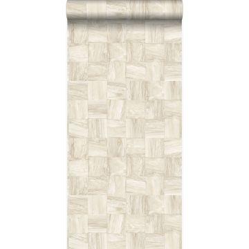 papel pintado con textura eco pedazos cuadrados de madera de desecho recuperada beige de Origin