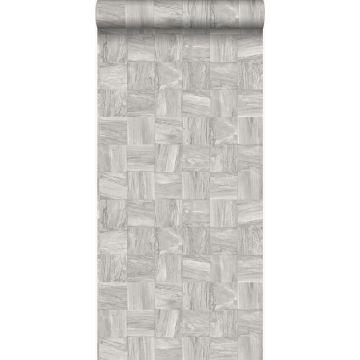 papel pintado con textura eco pedazos cuadrados de madera de desecho recuperada gris claro de Origin