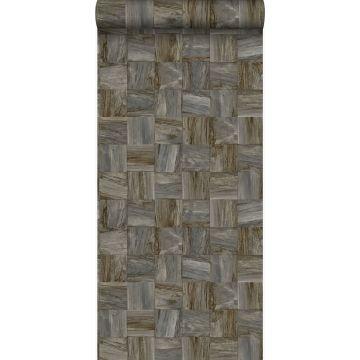 papel pintado con textura eco pedazos cuadrados de madera de desecho recuperada marrón oscuro de Origin