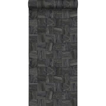 papel pintado con textura eco pedazos cuadrados de madera de desecho recuperada negro oscuro de Origin