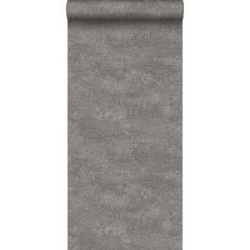 papel pintado piedra natural con efecto craquelé gris pardo de Origin