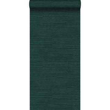 papel pintado bloques de piedra natural rugosos retro en aparejo de soga verde esmeralda de Origin