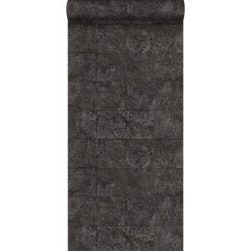 papel pintado bloques de piedra caliza en aparejo de soga negro oscuro de Origin