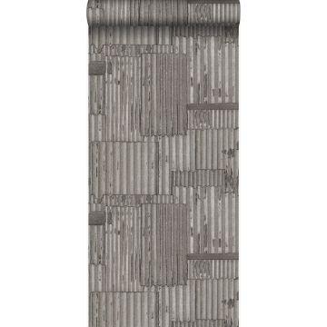 papel pintado hojas de metal corrugado industriales 3D gris oscuro de Origin