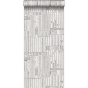 papel pintado hojas de metal corrugado industriales 3D blanquecino de Origin