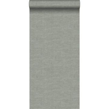 papel pintado efecto lino verde grisáceo de Origin