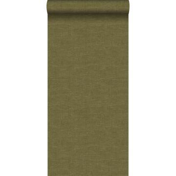 papel pintado efecto lino verde mostaza de Origin