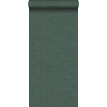 papel pintado efecto lino verde musgo de Origin