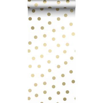 papel pintado puntos lunares blanco y oro de Origin