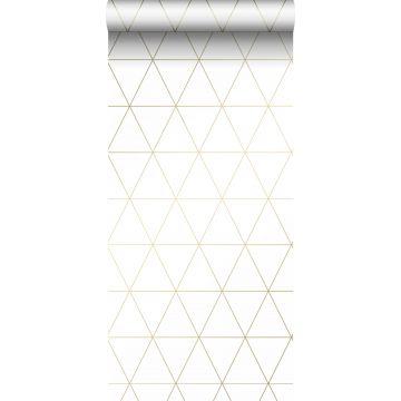 papel pintado triángulos gráficos blanco y oro de Origin
