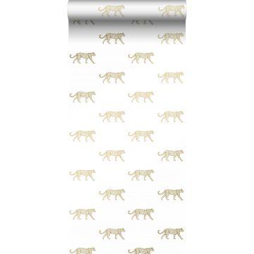 papel pintado pantera blanco y oro de Origin