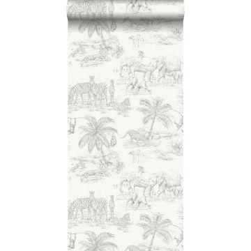 papel pintado dibujo a la pluma de safari blanco brillante y gris plata de Origin