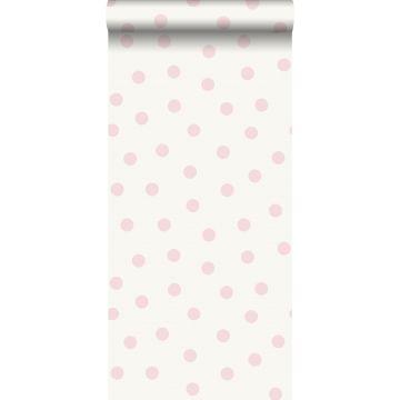 papel pintado puntos lunares rosa brillante y blanco de Origin