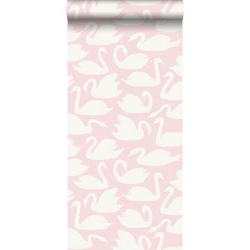 papel pintado cisnes rosa y blanco de Origin