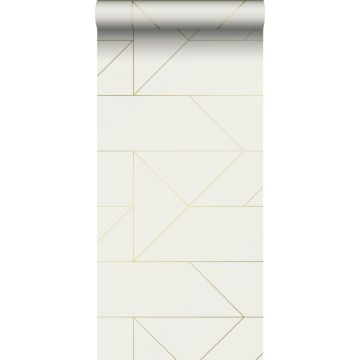 papel pintado líneas gráficas beige y oro de Origin