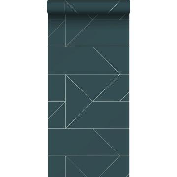 papel pintado líneas gráficas azul oscuro de Origin