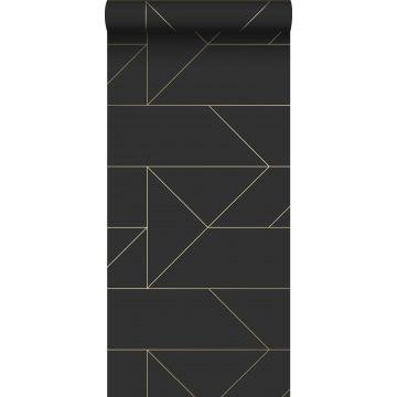 papel pintado líneas gráficas negro y oro de Origin