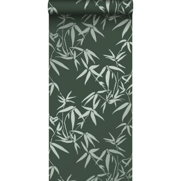 papel pintado hojas de bambú verde oscuro de Origin