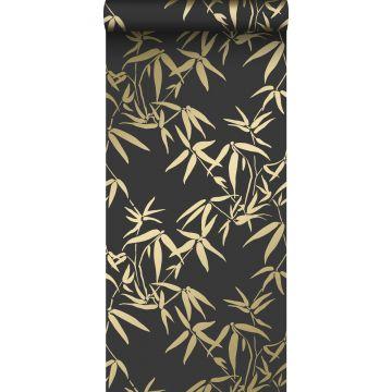 papel pintado hojas de bambú negro y oro de Origin