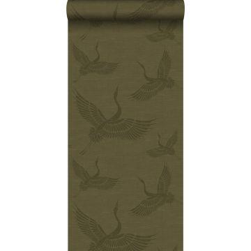 papel pintado pájaros grulla verde mostaza de Origin