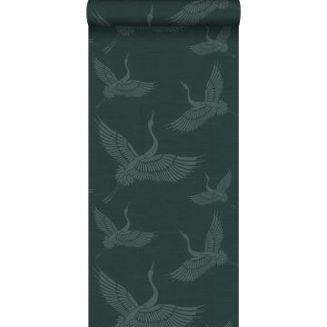 papel pintado pájaros grulla azul petroleo de Origin