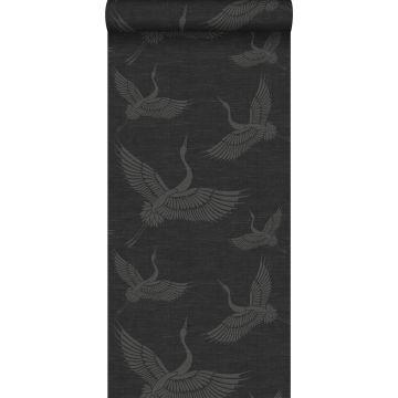 papel pintado pájaros grulla gris oscuro de Origin