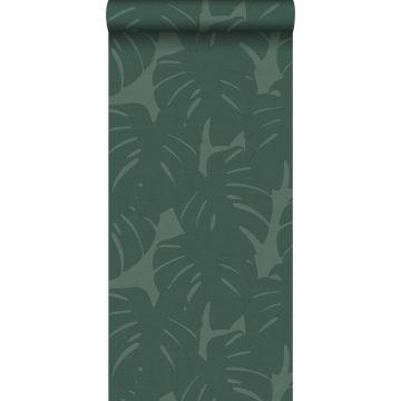 papel pintado hojas con estructura tejida verde mar de Origin