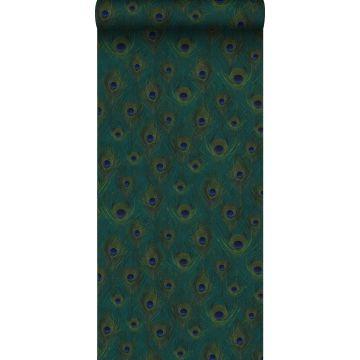 papel pintado con textura eco plumas de pavo real verde mar de Origin