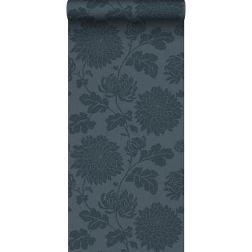 papel pintado flores azul oscuro de Origin