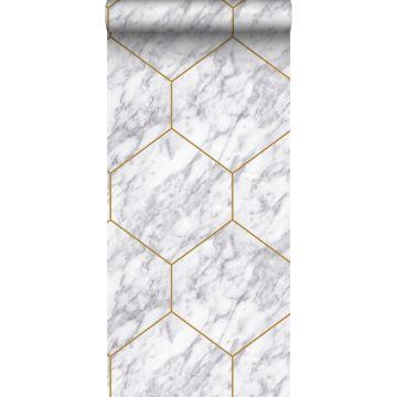 papel pintado hexágono con efecto mármol blanco, gris y oro de Origin