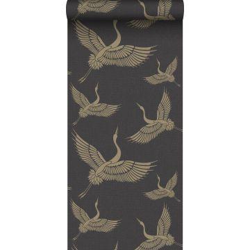 papel pintado pájaros grulla negro y oro de Origin