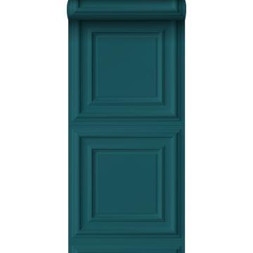 papel pintado lambris azul petroleo de Origin