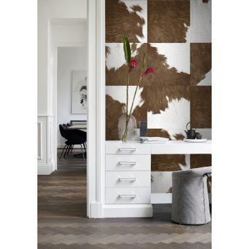 papel pintado XXL oficina en casa imitación piel de vaca marrón y blanco 357242