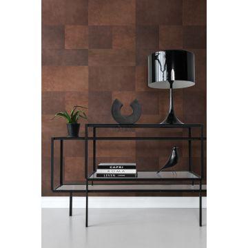 papel pintado XXL salón motivo de azulejos imitacion de cuero marrón 357237