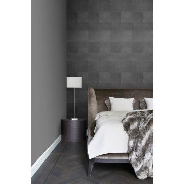 papel pintado XXL dormitorio motivo de azulejos imitacion de cuero gris oscuro 357240