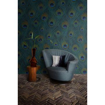 fotomural salón plumas de pavo real verde mar 357245