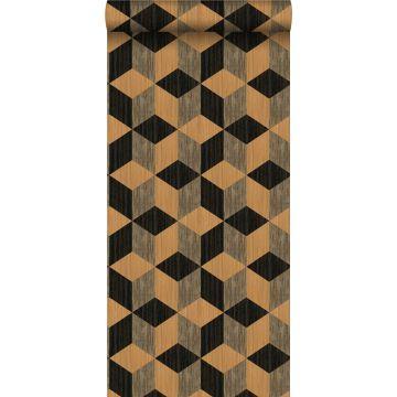 papel pintado XXL fibra vegetal en motivo gráfico marrón claro y marrón oscuro de Origin