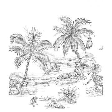 fotomural dibujo a la pluma de safari blanco y negro de Origin