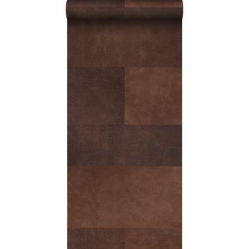 papel pintado XXL motivo de azulejos imitacion de cuero marrón de Origin