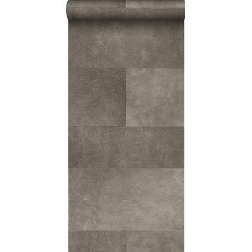 papel pintado XXL motivo de azulejos imitacion de cuero gris cálido de Origin
