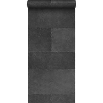 papel pintado XXL motivo de azulejos imitacion de cuero gris oscuro de Origin