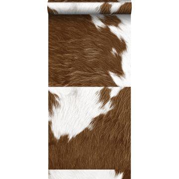 papel pintado XXL imitación piel de vaca marrón y blanco de Origin