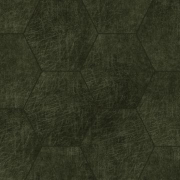 paneles eco-cuero autoadhesivos hexágono verde oliva agrisado de Origin
